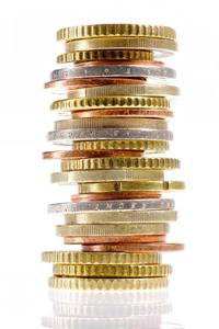 Stapel Euromünzen gemischt