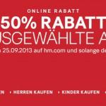 50% Rabatt auf auserwählte H&M Artikel + 2 nützliche Gutscheine