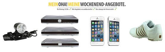 OHA-Deals zum Wochenende iPhone 5 16GB, K-Swiss Sneaker, LED Scheinwerfer und Telefunken 3in1 Bundle