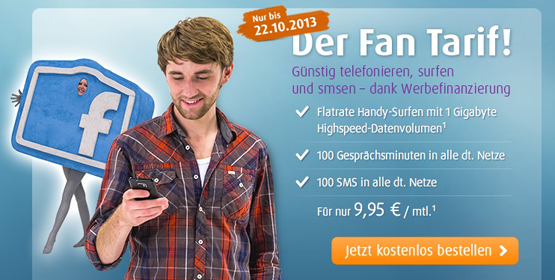 100 Freiminuten, 100 SMS und 1GB Datentarif im o2 Netz für 9,95€ monatlich