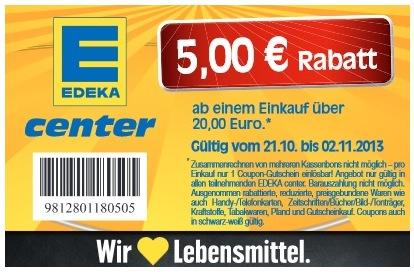 5€ Edeka Gutschein mit einem Mindestbestellwert von nur 20€