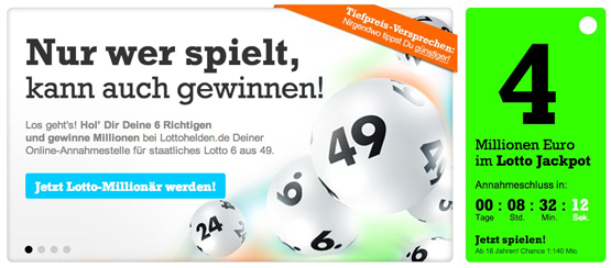 6 Felder bei Lottohelden für nur 1,20€ dank Neukunden Rabatt