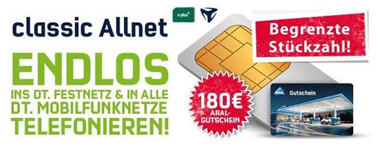Allnet-Flat von Mobilcom für effektiv 2,49€ im Monat dank 180€ Aral Tankgutschein