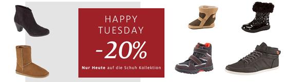 Nur heute ganze 20 Prozent Rabatt auf die gesamte Schuh-Kollektion bei C&A