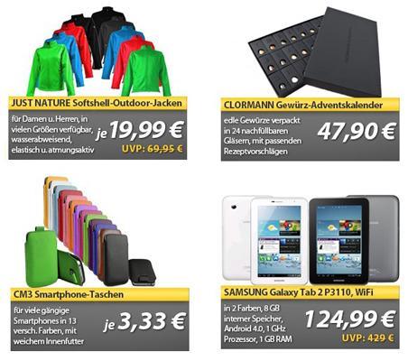 OHA Deals zum Wochenende – Samsung Galaxy Tab 2 P3110, Clormann Adventskalender und noch mehr