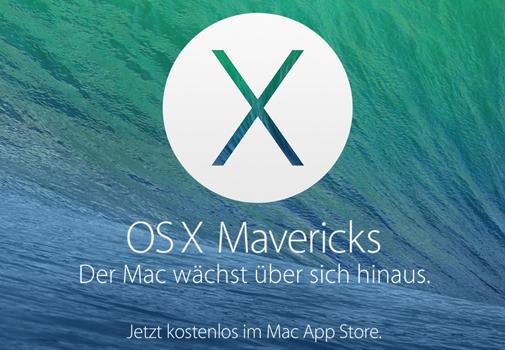OS X Mavericks (10.9) kostenlos für Macbook, Mac Mini, iMac und Mac Pro verfügbar