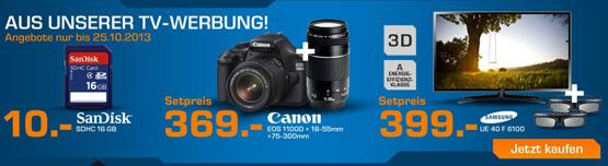 Samsung UE40F6100 40 Zoll 3D Fernseher, CANON EOS 1100D Kamera und SanDisk 16GB Speicherkarte bei Saturn