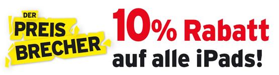 10 Prozent Rabatt auf alle iPad Geräte bei Interdiscount in der Schweiz