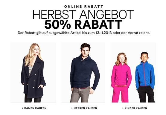 50 Prozent Rabatt auf ausgewählte Artikel bei H&M