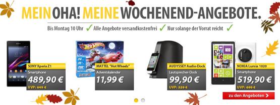 OHA Deals zum Wochenende – Nokia Lumia 1020, Sony Xperia Z1, Audyssey Audio-Dock und mehr