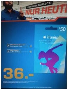 iTunes Guthabenkarten bei Saturn