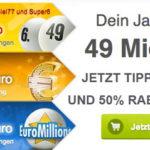 50% Rabatt auf alle Lotto-Tipps + 1 Gratis-Tipp für Neukunden bei Lottoland