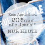 Nur heute! 20% Rabatt auf alle Jeans bei Mustang