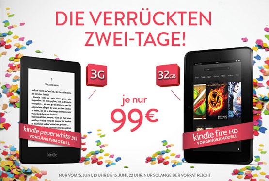 Kindle Papherwhite 3G und Kindle Fire HD (32GB) für je nur 99€ inkl. Versand