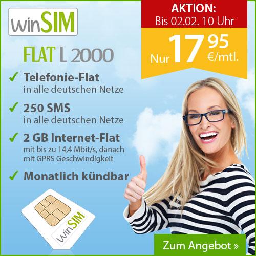 Winsim O2 Flat L2000 Allnet Sms Und Internet Flat 2 Gb Mit 144