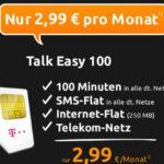 Telekom: 100 Minuten + SMS-Flat + 250MB Surf Flat für 2,99€/Monat