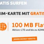 Simyo 100 MB Highspeed Free Internet Flat: 100MB mtl. für einmalig 4,90€