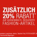 Galeria Kaufhof: 20% Rabatt auf ausgewählte Fashion + 10% Gutschein