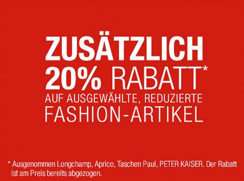 e0914c7066282 Galeria Kaufhof: 20% Rabatt auf ausgewählte Fashion + 10% Gutschein ...