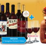 Weihnachtsselektion 10 Weine mit 2 Gläsern für 39,90€ inkl. Versand statt 112,50€