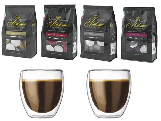 100 grand maestro kaffee kapseln f r nespresso maschinen 2 doppelwandige espressogl ser f r. Black Bedroom Furniture Sets. Home Design Ideas