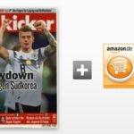 Kicker Jahresabo (104 Ausgaben) für 236,60€ + 155€ Amazon-Gutschein oder 145€ Verrechnungsscheck