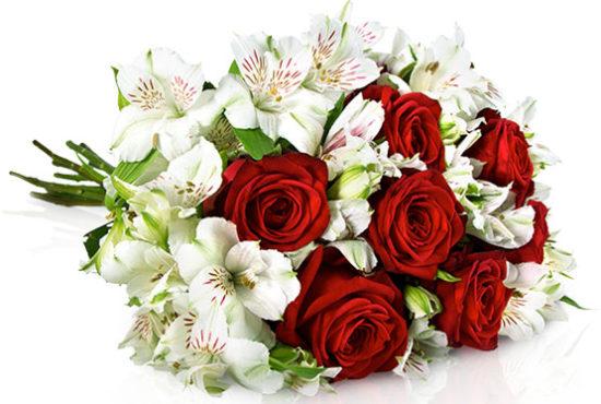 Alstromerien Rosen Red Naomi Strauß Blumenstrauß