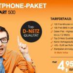 cleverSMART 500: 100 Min + 100 SMS + 500MB im D-Netz für 4,95€ – monatlich kündbar