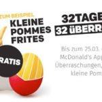 Kleine Portion Pommes gratis bei McDonalds