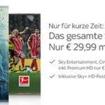 Sky Komplettpaket mit HD für 29,99€ statt 76,99€