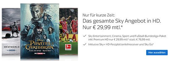 Angebot Deal Sky Komplett Bundesliga Fußball Entertainment Cinema