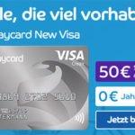 Dauerhaft beitragsfreie Barclaycard New Visa Kreditkarte + 50€ Startguthaben