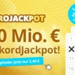5 Felder Eurojackpot (90.000.000€ Jackpot) für 2,40€ anstatt 10,40€