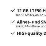 💥 Sparhandy Allnet-Flat mit 12GB LTE! im Telekom-Netz für 20,00€ im Monat 💥