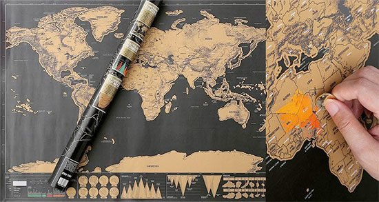 Weltkarte Freirubbeln Reisender Cool