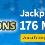 EuroMillions (176.000.000€ Jackpot): 1 Tippfeld gratis (statt 2,75€) oder 3 Felder für 2,75€ (statt 11€) oder 1.175 Chancen für 9,90€ (statt 22€)