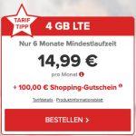 o2 Allnet-Flat mit 4GB LTE für 14,99€ mtl. – nur 6 Monate Laufzeit + 100€ BestChoice Gutschein