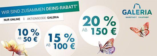 Galeria Karstadt Kaufhof: Bis zu 20% Rabatt Sparen im