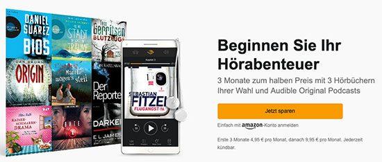 Hörbücher Audible Deal Sparen Angebot