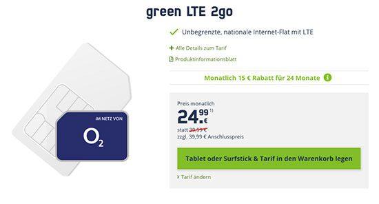 Datentarif router angebot LTE sparen o2