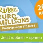 """Rubbellose der Woche: """"Rubbel EuroMillions"""" 10 Lose für 22,00€ (statt 27,50€) oder 5 Lose für 12,40€ statt 13,75€ – für Neu- und Bestandskunden"""