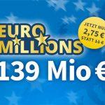 EuroMillions Superdraw (139 Mio. € Jackpot) Gratistipp oder 4 Felder für 2,75€ (statt 11€) oder 1.175 Chancen für 9,90€ (statt 22€)
